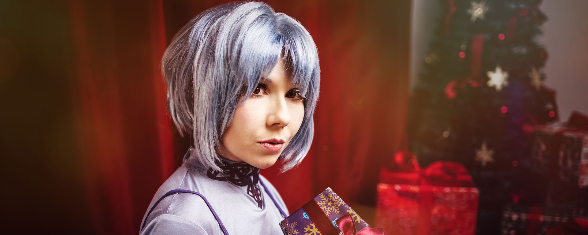Rei Ayanami Cosplay in Christmas Set