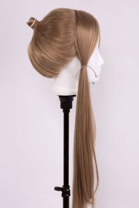 ponytail wig on wig stand