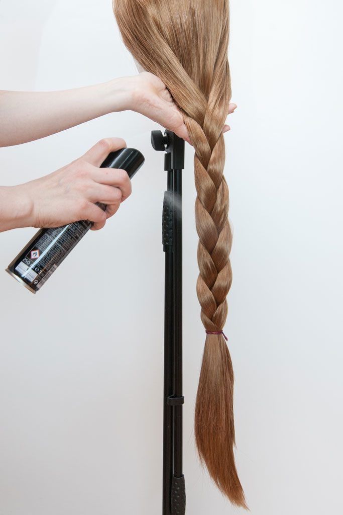 braided wig with hairspray