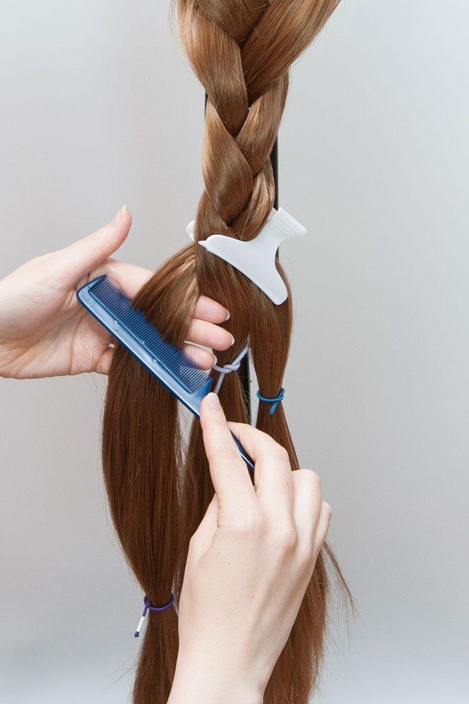 brushing a wig