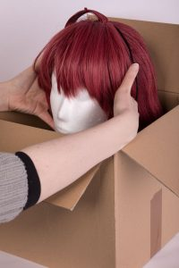 lower the wig head into the box