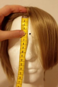 measuring length of bangs