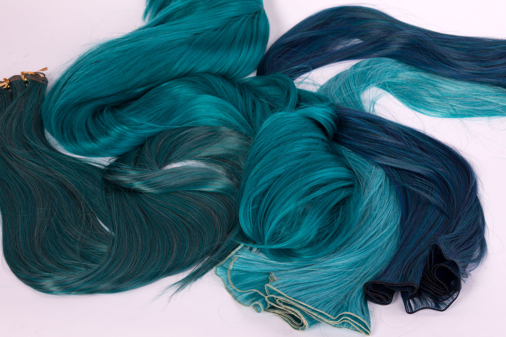 wefts in teal and blue