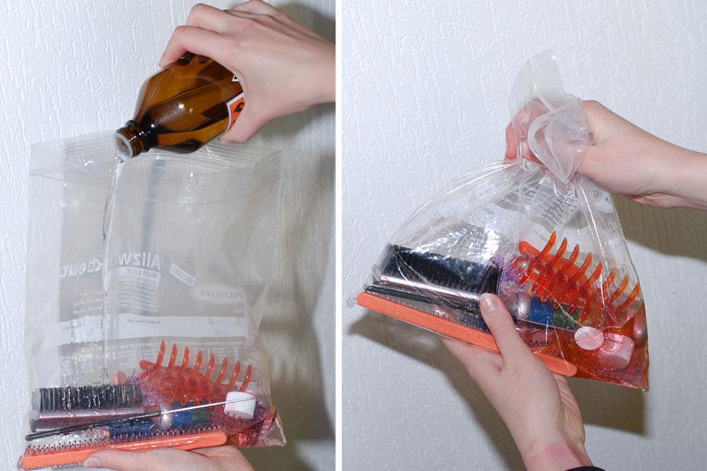 Limpieza de herramientas con alcohol